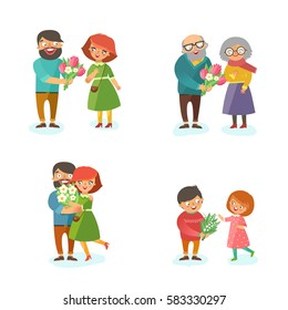Couples with bouquets of flowers set. Man giving flowers to woman. Happy seniors, young man and woman, kids. Vector colorful illustration in flat style isolated on white