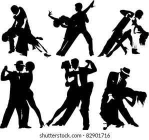 couples dancing Latin American dancing (vector illustration);