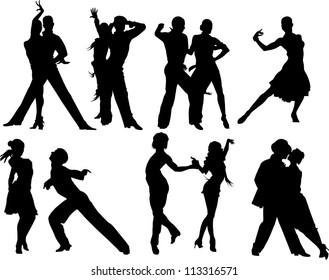 couples dancing sports dancing (vector illustration);