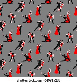 Couples dancing tango latin american romantic boy and girl couples seamless pattern