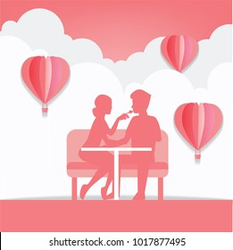 Couples Dating in Valentine's Day , Cartoon character,Vector and illustration