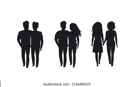 couples of different sexual orientation silhouettes isolated vector graphic