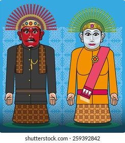 couples doll named 'Ondel - Ondel' is one symbol or icon Jakarta ( Betawi )