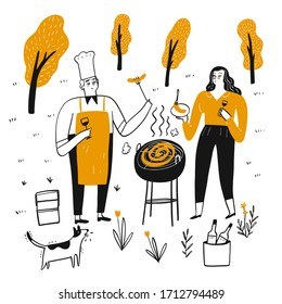 Couples are grilling on a sunny afternoon barbecue.  Hand drawn, Vector Illustration doodle style.