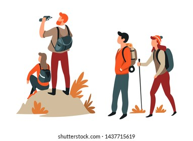 Couples hiking man and woman active lifestyle vector walking or trekking binocular and backpack stick mountains or hills camping or backpacking boyfriend girlfriend outdoor activity direction travelin