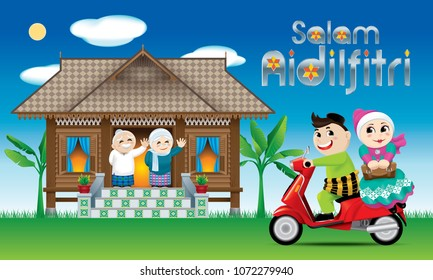 "A couples is just arrive their home town, ready to celebrate Raya festival with their parents. With village day's scene. The silver words ""Salam Aidilfitri"" means happy Hari Raya."