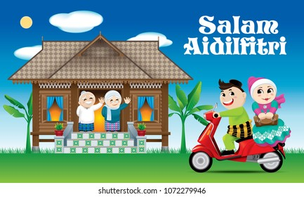 "A couples is just arrive their home town, ready to celebrate Raya festival with their parents. With village day's scene. The white words ""Salam Aidilfitri"" means happy Hari Raya."
