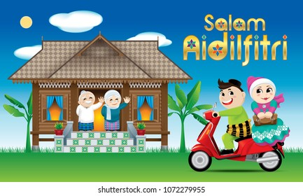 "A couples is just arrive their home town, ready to celebrate Raya festival with their parents. With village day's scene. The golden words ""Salam Aidilfitri"" means happy Hari Raya."