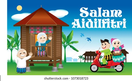 "A couples is just arrive their home town, ready to celebrate Raya festival with their parents. With village day's scene. The words ""Salam Aidilfitri"" means happy Hari Raya."
