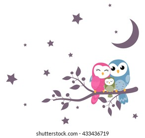 couples of owls family sitting on night scene