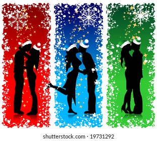 Couples silhouette, christmas background for your design