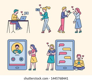 Couples who convey the message of love to digital devices. A boyfriend who presents a flower to a girlfriend. flat design style minimal vector illustration.