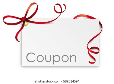 Coupon card with red ribbon on the white. Eps 10 vector file.