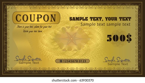 Coupon certificate gold vector template