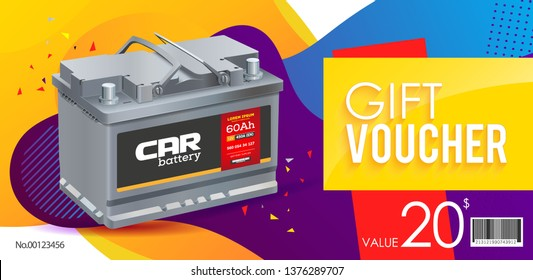 Coupon. A discount. Modern background. Voucher template. Battery car. Brochure advertising. Vector illustration. Polygraphy.