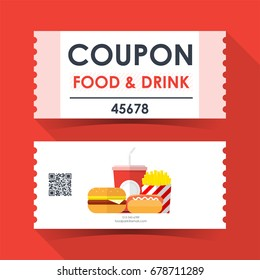 Coupon food and drink ticket card. Element template for graphics design. Vector illustration.