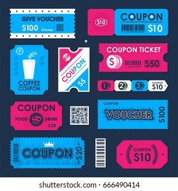 Coupon, Gift Voucher ticket card. Element template for design. Vector illustration.