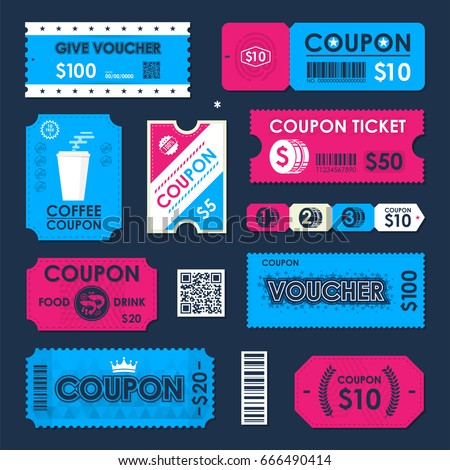 coupon gift voucher ticket card element のベクター画像素材