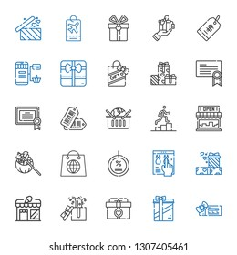 coupon icons set. Collection of coupon with voucher, gifts, gift, store, online shop, discount, shopping, promotion, online shopping, tags. Editable and scalable coupon icons.