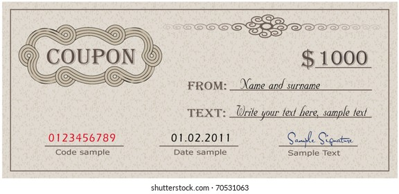 Coupon paper certificate  vector template