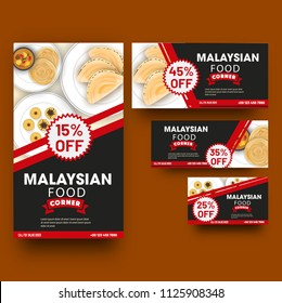 Coupon or template collection with different discount offers for Malaysian food restaurant.