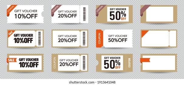 Coupon ticket card element template for graphics design. Vector illustration.