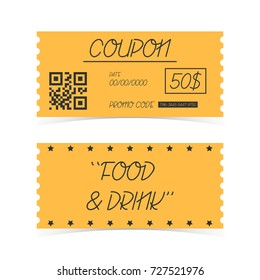 Coupon Ticket Card. Element template for design. Vector illustration.