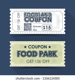 Coupon Ticket Card. Retro Vintage Template Design. Vector illustration