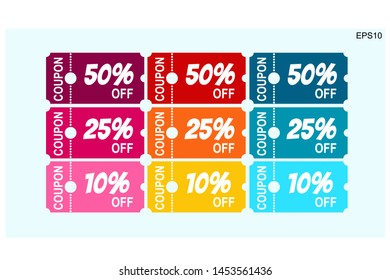 Coupons discount banner 50%, 25% and 10% off offers.vector design
