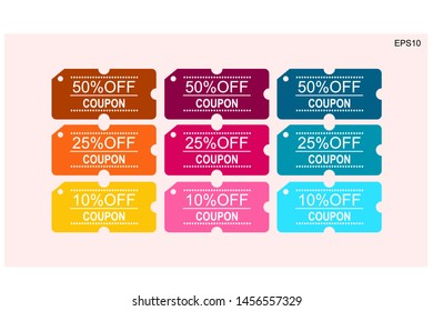 Coupons discount banner 50, 25 and 10 percent off offers.vector design