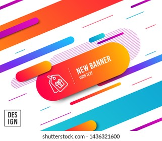 Coupons with Gifts line icon. Present box or Sale sign. Birthday Shopping symbol. Package in Gift Wrap. Diagonal abstract banner. Linear coupons icon. Geometric line shapes. Vector