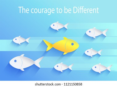 Courage to be different, risk taker fish icon. Set of white fingerlings swimming one way with yellow zooid moving other direction vector illustration