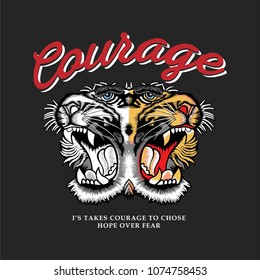 courage tiger t-shirt graphics, tee print design, vector.