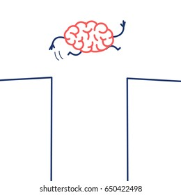 Courage. Vector concept illustration of brain jumping across the gap | flat design linear infographic icon red and blue on white background