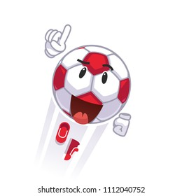 Courageous animated soccer football character flying. Superhero metaphor. Cartoon soccer ball emoticon. Colorful clipart. Flat style vector illustration isolated on white background