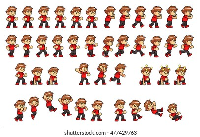 Courageous Boy Game Sprites. Suitable for side scrolling, action, adventure, and endless runner game.