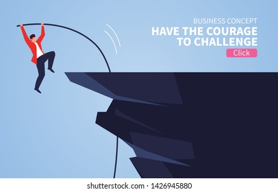 Courageous challenge, businessman pole vault jumping cliff