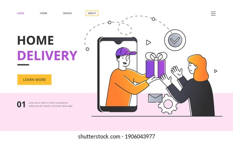The courier from the application screen on the smartphone hands the parcel to the woman. Outline flat vector illustration. Website, webpage, landing page template or layout