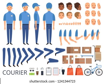 Courier box character animation. Body parts head arms cap hands of warehouse worker faces vector creation kit