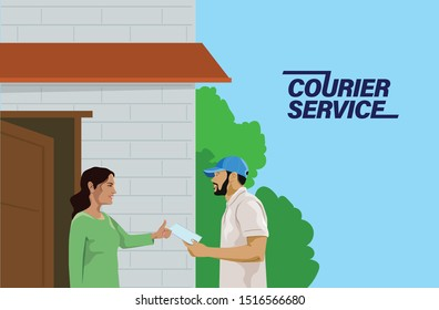 A courier boy delivering letter, Courier service, Postman delivering letter to a lady - vector