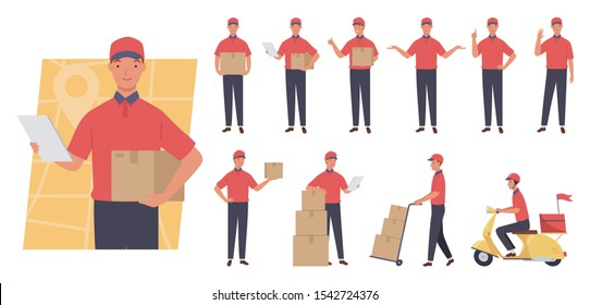 Courier character set. service delivery. Different poses and emotions. Vector illustration in a flat style