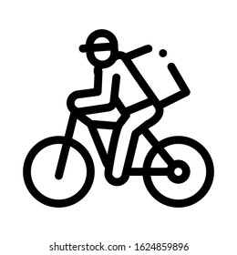 Courier Delivery by Bicycle Icon Vector. Outline Courier Delivery by Bicycle Sign. Isolated Contour Symbol Illustration