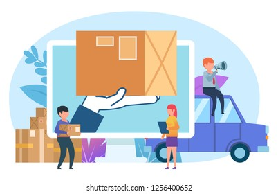 Courier, delivery service. Small people stand near web page, big hand holding package. Poster for social media, web page, banner, presentation. Flat vector illustration