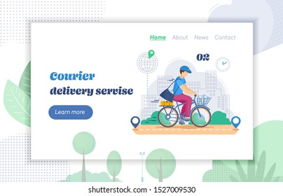 Courier delivery service website landing page. Character courier man with full bag of mail letters, parcels envelopes traveling on bicycle. Post delivers letters, parcels on bike cartoon vector