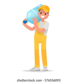 Courier delivery of water in large bottles. Element logo Company water delivery. Vector illustration in a flat style
