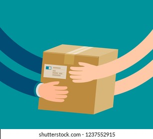 Courier hands parcel to customer. Delivery concept. Cartoon vector illustration