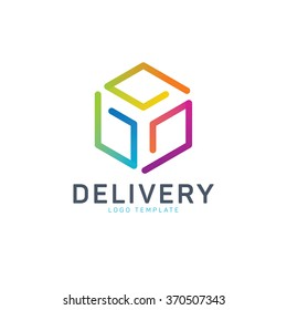 Courier logo. Box delivery logo. Colorful box logo. Send logo. Transport logo. Package logo