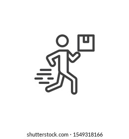 Courier man with box line icon. linear style sign for mobile concept and web design. Express post delivery outline vector icon. Symbol, logo illustration. Vector graphics