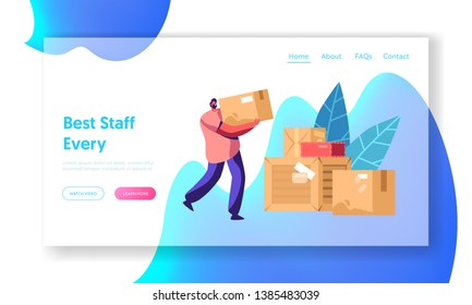 Courier Man Carry Box. Package Mail Delivery Service, Postage Transportation. Loader Bringing Packing in Post Office Warehouse Website Landing Page, Web Page. Cartoon Flat Vector Illustration, Banner