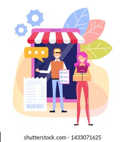 Courier man worker character bringing box parcel to woman consumer. Delivery shipment service concept. Vector flat cartoon graphic design illustration